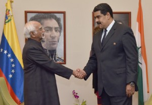 The Vice President, Shri M. Hamid Ansari calling on the President of Venezuela, Mr. Nicolás Maduro, in Margarita, Venezuela on September 16, 2016.